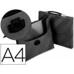 Carpeta Beautone portadocumentos broche polipropileno tamaño A4 color negro con asa