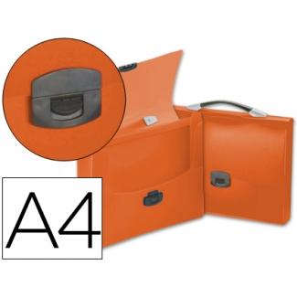 Carpeta Beautone portadocumentos broche polipropileno tamaño A4 naranja transparente con asa