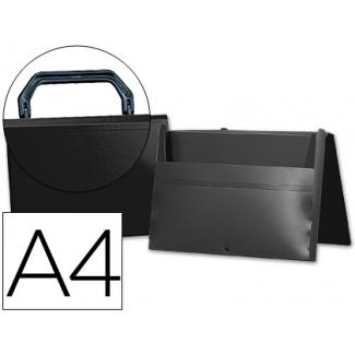 Liderpapel SS43 - Carpeta portadocumentos con asa, polipropileno, A4, color negro opaco