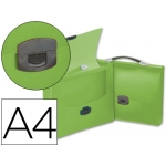 Carpeta Beautone portadocumentos broche polipropileno tamaño A4 verde transparente con asa