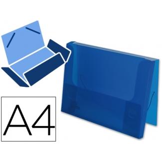 Liderpapel - Carpeta portadocumentos, lomo rígido de 25 mm, polipropileno, A4, color azul translúcido