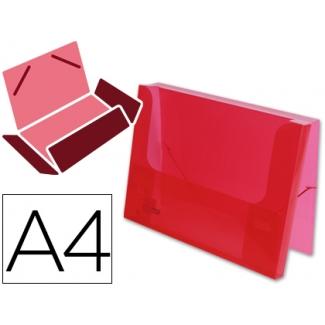Carpeta Beautone portadocumentos gomas polipropileno tamaño A4 roja transparente lomo de 25 mm