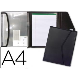 Carpeta Beautone portadocumentos polipropileno con 5 bolsas y bloc de notas cierre de velcro tamaño A4 color negro