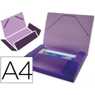 Liderpapel - Carpeta portadocumentos, lomo rígido de 25 mm, polipropileno, A4, color violeta
