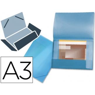 Liderpapel SS17 - Carpeta de plástico con gomas, con tres solapas, lomo flexible, tamaño A3, color azul translúcido