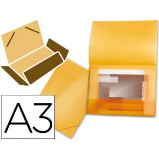 Carpeta Beautone portadocumentos solapas polipropileno tamaño A3 color naranja serie frosty lomo flexible