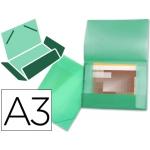 Carpeta Beautone portadocumentos solapas polipropileno tamaño A3 color verde serie frosty lomo flexible