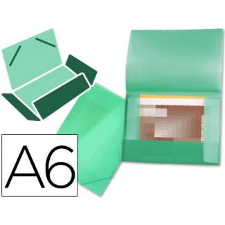 Carpeta Beautone portadocumentos solapas polipropileno tamaño A6 color verde serie frosty lomo flexible