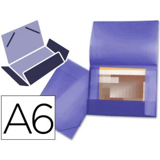 Carpeta Beautone portadocumentos solapas polipropileno tamaño A6 color violeta serie frosty lomo flexible