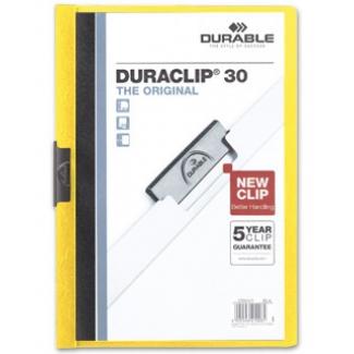 Durable Duraclip - Dossier con pinza lateral, A4, capacidad para 30 hojas, color amarillo