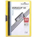 Durable Duraclip - Dossier con pinza lateral, A4, capacidad para 60 hojas, color amarillo