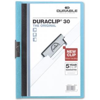 Durable Duraclip - Dossier con pinza lateral, A4, capacidad para 30 hojas, color azul