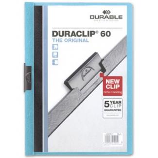 Durable Duraclip - Dossier con pinza lateral, A4, capacidad para 60 hojas, color azul