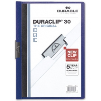 Durable Duraclip - Dossier con pinza lateral, A4, capacidad para 30 hojas, color azul oscuro