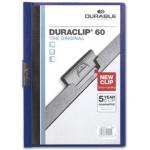 Carpeta Duraclip dossier pinza lateral color azul oscuro capacidad 60 hojas