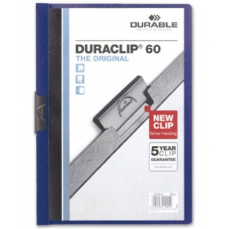 Durable Duraclip - Dossier con pinza lateral, A4, capacidad para 60 hojas, color azul oscuro