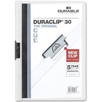 Durable Duraclip - Dossier con pinza lateral, A4, capacidad para 30 hojas, color blanco