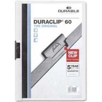 Durable Duraclip - Dossier con pinza lateral, A4, capacidad para 60 hojas, color blanco