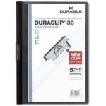 Durable Duraclip - Dossier con pinza lateral, A4, capacidad para 30 hojas, color negro