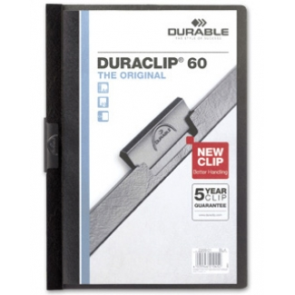 Durable Duraclip - Dossier con pinza lateral, A4, capacidad para 60 hojas, color negro