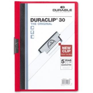 Durable Duraclip - Dossier con pinza lateral, A4, capacidad para 30 hojas, color rojo