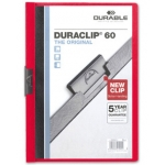 Durable Duraclip - Dossier con pinza lateral, A4, capacidad para 60 hojas, color rojo