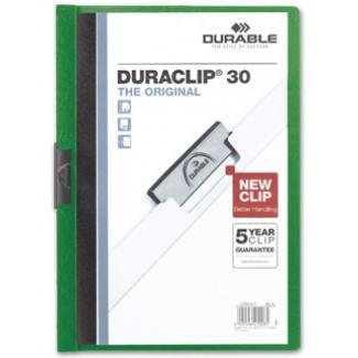 Durable Duraclip - Dossier con pinza lateral, A4, capacidad para 30 hojas, color verde
