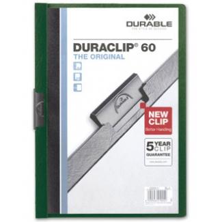 Durable Duraclip - Dossier con pinza lateral, A4, capacidad para 60 hojas, color verde oscuro