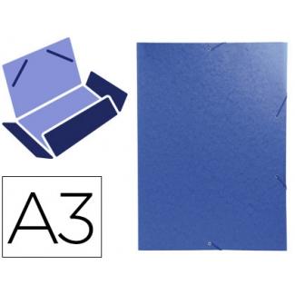 Exacompta 59507E - Carpeta de cartón con gomas, con tres solapas, tamaño A3, color azul