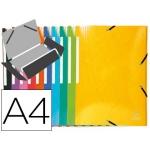 Carpeta Exacompta gomas cartón simil-prespan tres solapas tamaño A4+ colores surtidos
