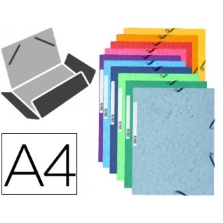Exacompta 55510E - Carpeta de cartón con gomas, con tres solapas, tamaño A4, colores surtidos