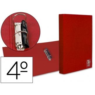 Carpeta Liderpapel 2 anillas 25 mm plástico tamaño cuarto color roja