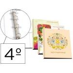 Carpeta Liderpapel 4 anillas 25 mm redondas cartón forrado tamaño cuarto fantasía spring time