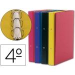 Carpeta Liderpapel 4 anillas 25 mm redondas plástico tamaño cuarto colores color surtidos