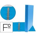 Carpeta Liderpapel 4 anillas 25 mm redondas plástico tamaño folio color celeste