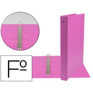 Carpeta Liderpapel 4 anillas 25 mm redondas plástico tamaño folio color fucsia
