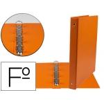 Carpeta Liderpapel 4 anillas 25 mm redondas plástico tamaño folio color naranja