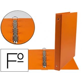 Liderpapel CA88 - Carpeta de anillas, 4 anillas redondas de 25 mm, plástico, tamaño folio, color naranja
