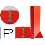 Carpeta Liderpapel 4 anillas 25 mm redondas plástico tamaño folio color rojo