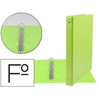 Carpeta Liderpapel 4 anillas 25 mm redondas plástico tamaño folio color verde pistacho