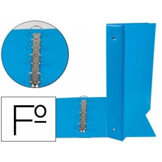 Liderpapel CH23 - Carpeta de anillas, 4 anillas redondas de 40 mm, plástico, tamaño folio, color celeste