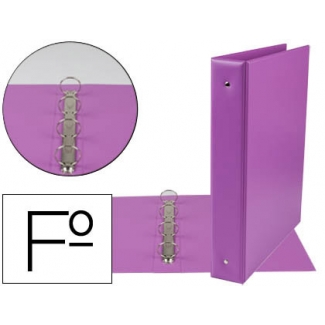 Liderpapel CH27 - Carpeta de anillas, 4 anillas redondas de 40 mm, plástico, tamaño folio, color lila