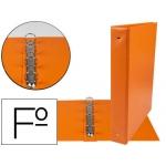 Carpeta Liderpapel 4 anillas 40 mm redondas plástico tamaño folio color naranja
