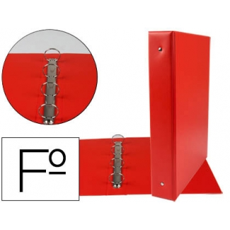 Carpeta Liderpapel 4 anillas 40 mm redondas plástico tamaño folio color rojo