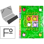 Carpeta Liderpapel clasificadora fantasía cartón forrado solapa happy apple
