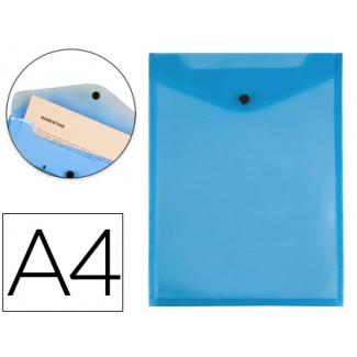 Carpeta Liderpapel dossier broche polipropileno tamaño A4 formato vertical azul transparente