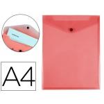 Liderpapel DS08 - Dossier con broche, A4 vertical, 180 micras, capacidad para 50 hojas, color rojo transparente