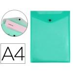 Carpeta Liderpapel dossier broche polipropileno tamaño A4 formato vertical verde transparente