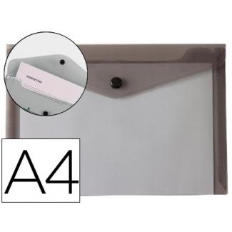 Liderpapel DS58 - Dossier con broche, A4, 180 micras, capacidad para 50 hojas, color negro transparente