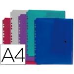 Carpeta Liderpapel dossier broche polipropileno tamano A4 pack de 5 colores surtidos transparentes multitaladro